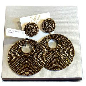 New Neiman Marcus gold tube bead, round bead large circle disk pierced earrings